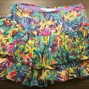 ZARA Woman Silk Drop Waist Ruffle Skirt